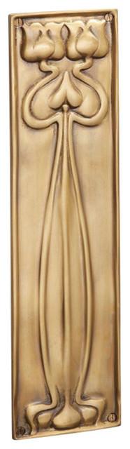 Finger Plate Flower, Antique Satin Brass