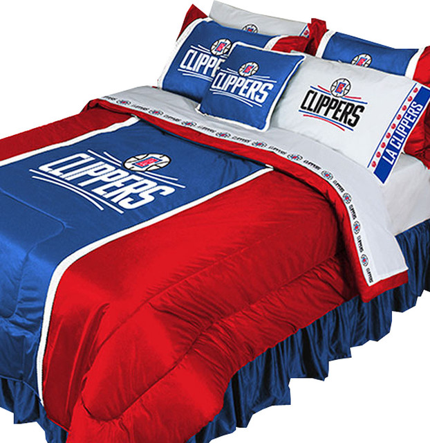 Delightful NBA LA Clippers Bedding Set Basketball Comforter Sheets, Full
