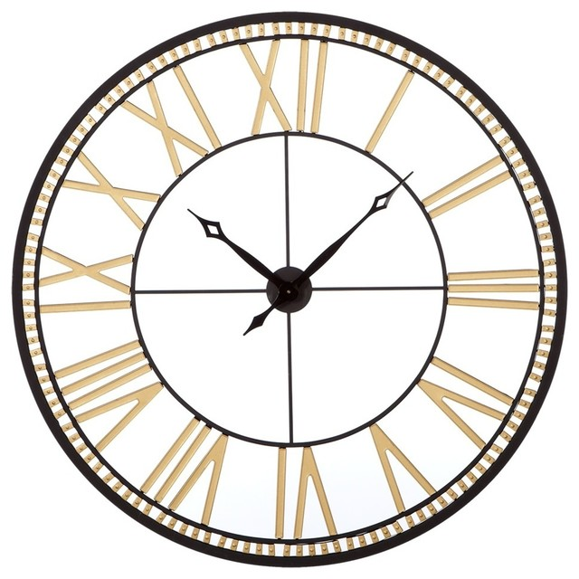 Roman Numeral Wall Clock Gold And Black Transitional