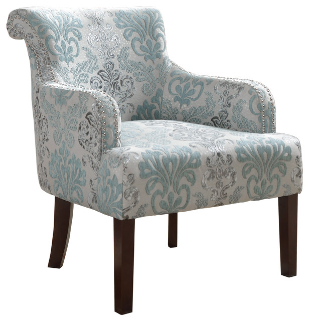 Living Room Accent Arm Chair, Teal and Light Blue ...