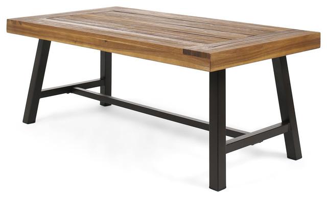 Gdf Studio Vern Indoor Rustic Acacia Wood Coffee Table Sandblast Metal