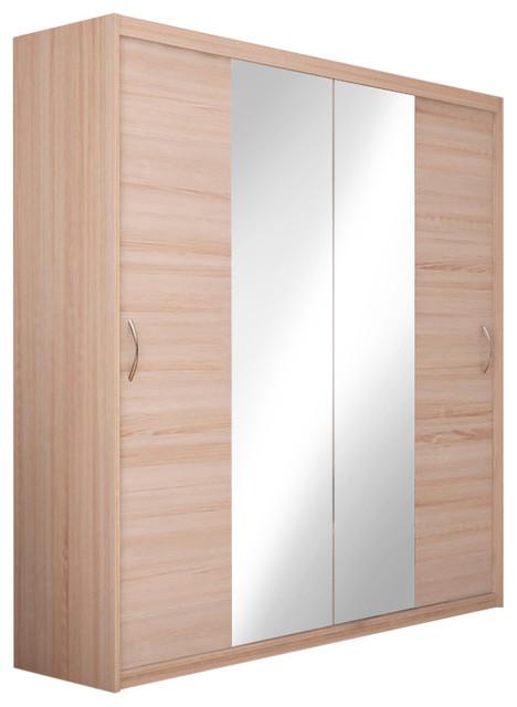 Elda 2 Shelf Wardrobe With Mirrored Sliding Doors 78 7