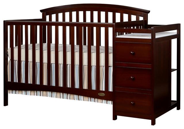 Dream On Me Niko, 5 in 1 Convertible Crib With Changer, Espresso