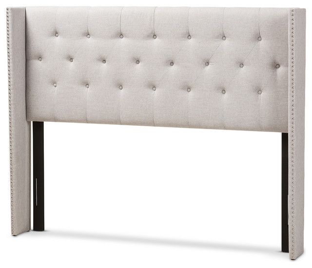 Ally Grayish Beige Fabric Button-Tufted Nailhead King Winged Headboard.