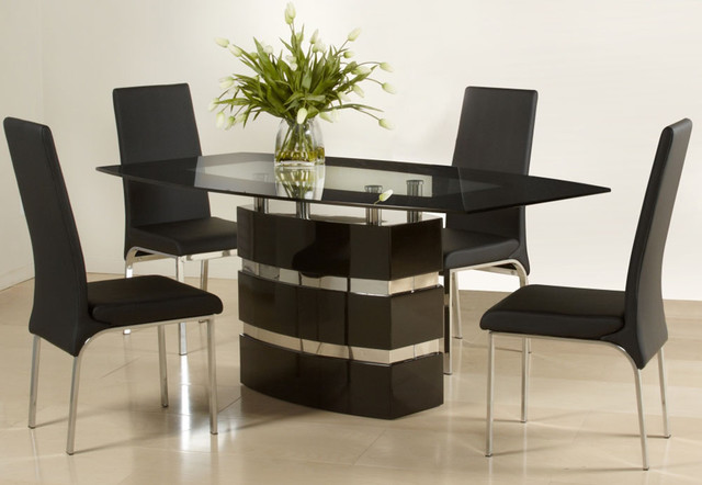 Graceful Wooden and Glass Top Designer Table and Chairs  : modern dining tables from www.houzz.com size 640 x 442 jpeg 55kB