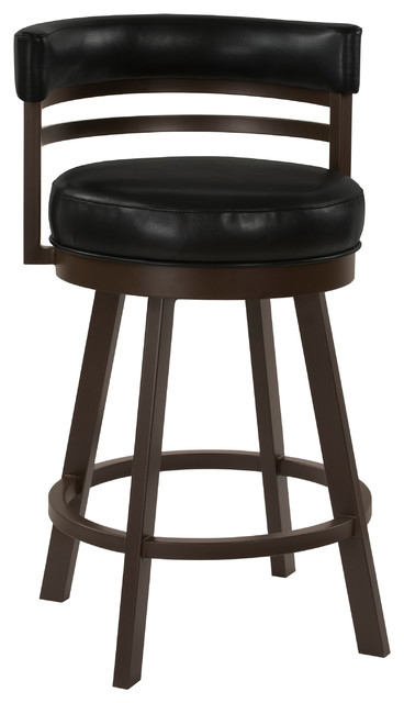 """Venice Swivel Barstool, Cantina Black Faux Leather and Capuccino Finish, 26"""""""