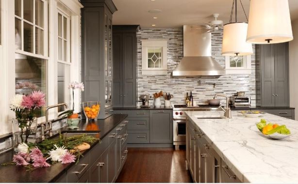 Kitchen Remodel Gray Cabinets gray kitchen remodel, painted cabinetry - contemporary - kitchen