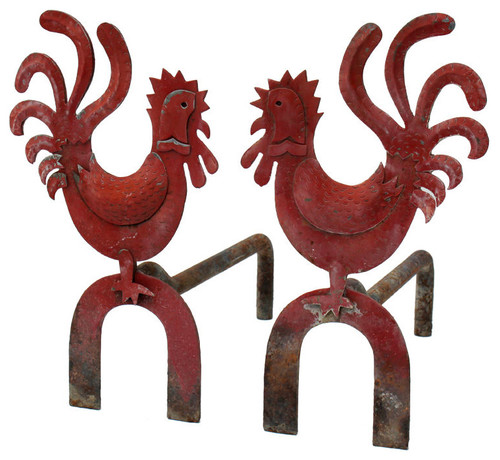 Pair of Naive Andirons eclectic fireplace accessories