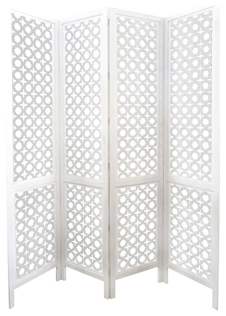 Carved Wood Work White ScreenRoom Devider Mediterranean Screens