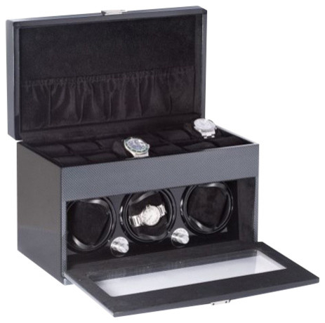 "Lacquered ""carbon Fiber"" Steel Gray 3 Watch Winder And Storage."