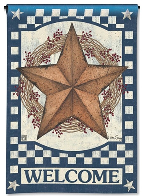 Primitive Patriotic Barn Star and USA Star Small 2 Sided Garden Flag 12.5 X 18