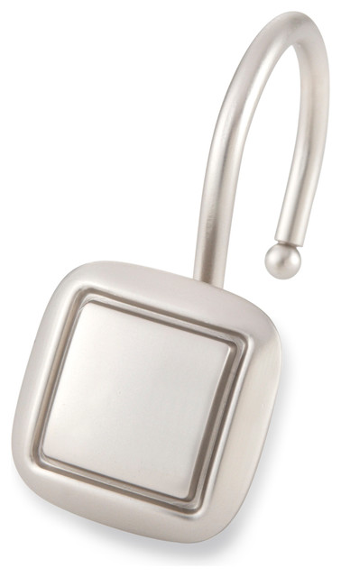 Shower Hooks Square Brush Nickel Contemporary Shower Curtain Rings By Elegant Home Fashions