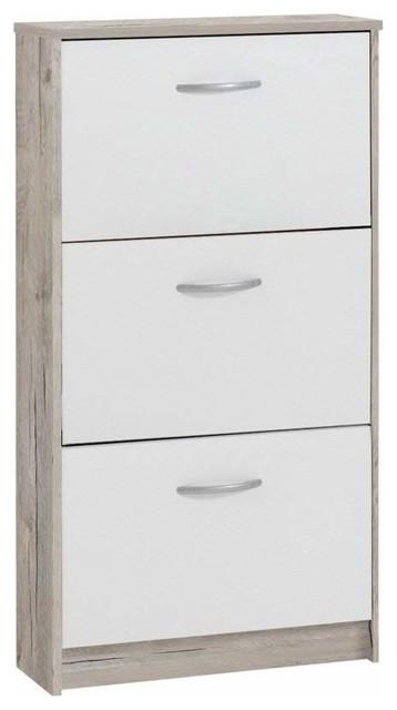 Contemporary Stylish Shoe Storage Cabinet, Finished Wood With 3-Drawer