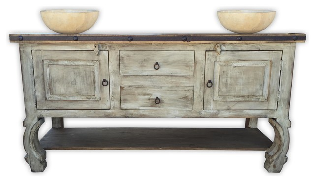 "Andes 72"" Rustic Vanity With Metal Inserts, Antique White."