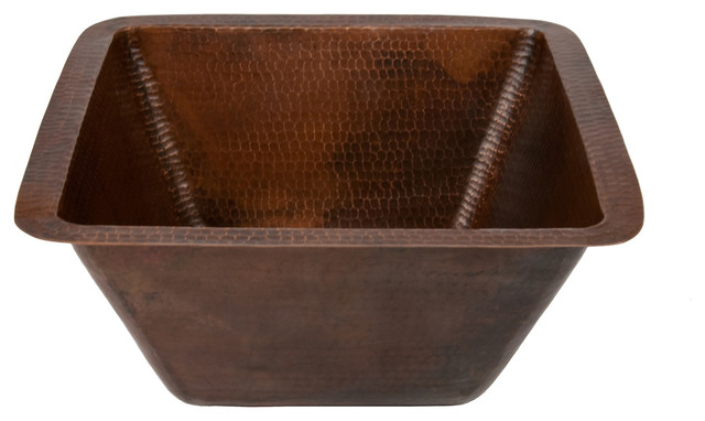 """15"""" Square Hammered Copper Bar/Prep Sink With  2"""" Drain Size, 2"""""""