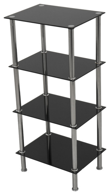 Small 4 Tier Shelving Unit In Black Glass Chrome