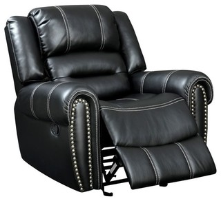 Furniture of America Frederick Faux Leather Recliner Black - Transitional - Recliner Chairs - by Homesquare  sc 1 st  Houzz & Furniture of America Frederick Faux Leather Recliner Black ... islam-shia.org
