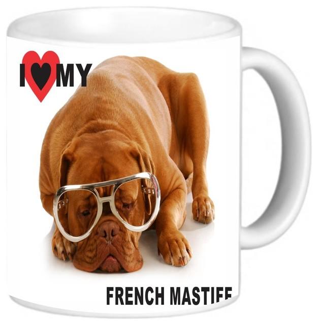 I Love My French Mastiff Hipster Dog Coffee Mug