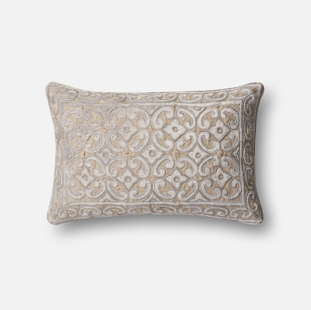 Loloi Contemporary Accent Pillow Silver And Taupe