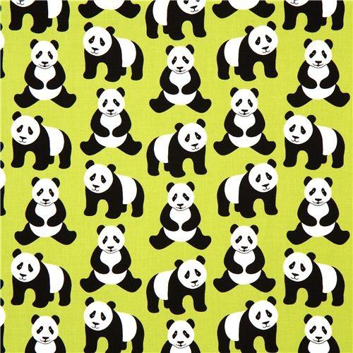 green Robert Kaufman fabric Menagerie with panda bears