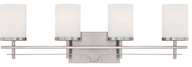 Colton 4-Light Bathroom Vanity Lights, Satin Nickel.