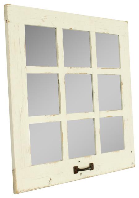 Farmhouse Mirror 9 Window Pane Mirror, White.