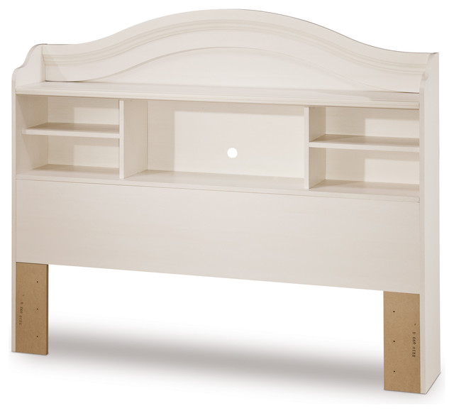 South Shore Summer Breeze Full Bookcase Headboard, 54&x27;&x27;, White Wash.