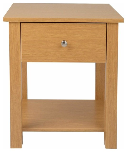 Bedside Table, Oak Finished Solid Wood With Drawer and Open Shelf for Storage