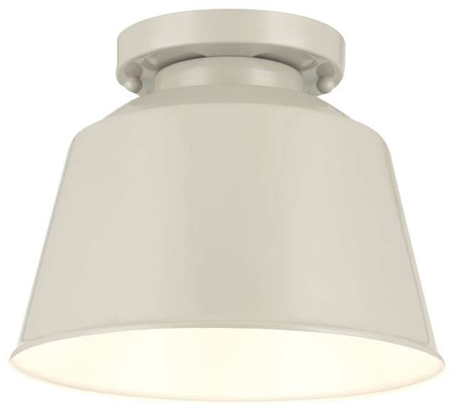 1- Light Semi Flush Mount, Hi Gloss Gray.