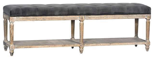 Tufted Grey Velvet Bench.