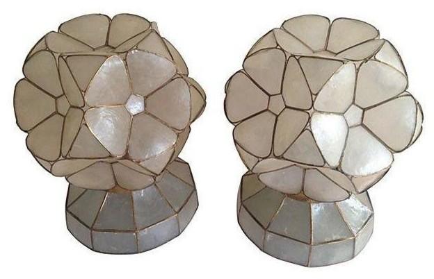 1950s Capiz Shell Flower Lamps   Pair Modern Table Lamps