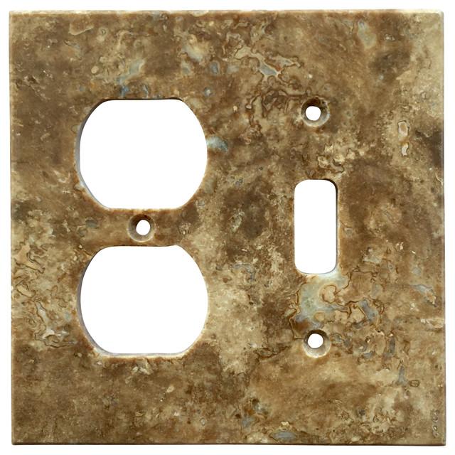 "5 Switch Outlet Cover Brilliant Dark Walnut Travertine Switch Plate Cover Toggle Duplex 4.5""x5.5 Design Decoration"