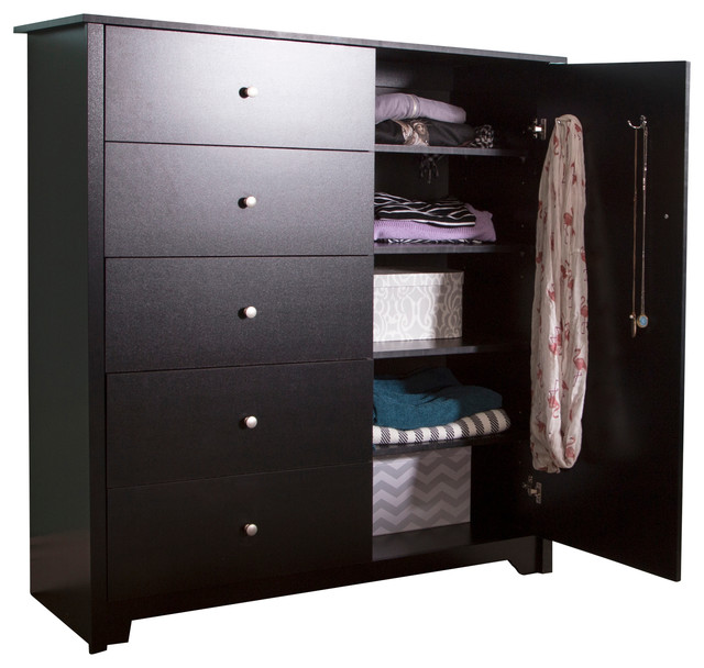 south shore furniture south shore vito door chest with 5 drawers pure black