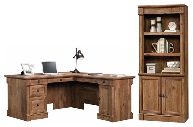 Palladia 2 Piece L Shaped Computer Desk and 3 Shelf Bookcase Set in Vintage Oak