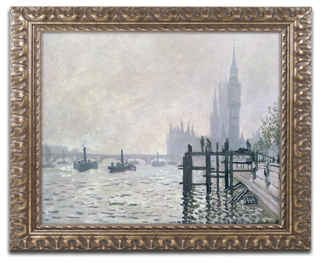 The Thames Below Westminster Ornate Framed Canvas Art By Claude Monet Traditional Prints And Posters By Trademark Global