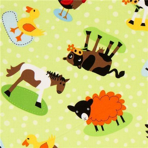 green farm animal fabric with dots by Robert Kaufman