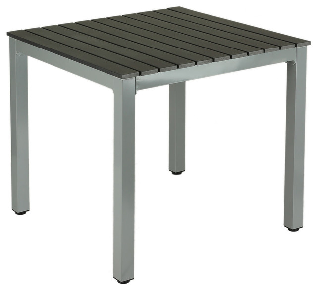 Jaxon Aluminum Outdoor Table, Poly Wood, Silver/Slate Gray Modern Outdoor