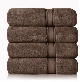 Lezeth Collection 4-Piece Super Soft Zero Twist Oversize Bath Sheet, Chocolate