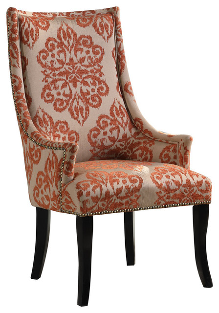Damask Pattern Living Room Accent Chair, Patterned Living Room Chairs