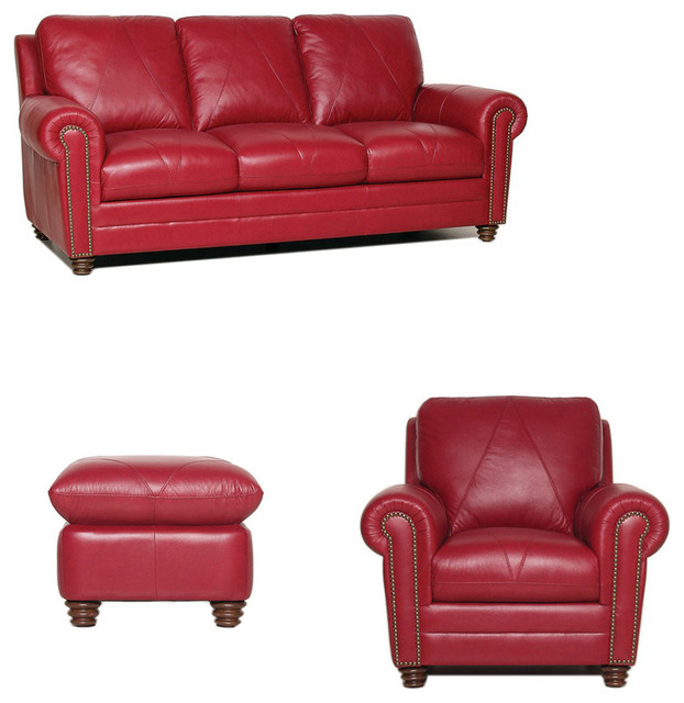 Remarkable Weston Italian Leather Living Room Set 3 Piece Set Home Interior And Landscaping Thycampuscom