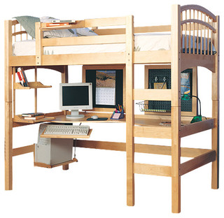 Mckenzie Hardwood Study Loft Bed, Natural Beech