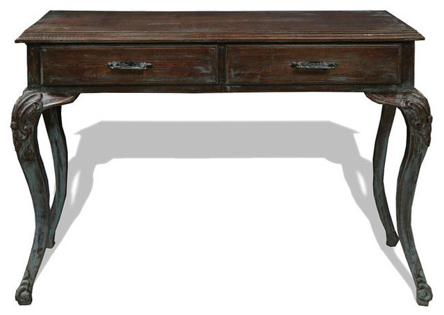 Old World Mediterranean Sofa Table Fresco Brown Torched Distressed W Turquoise Console Tables By Lutina Furniture