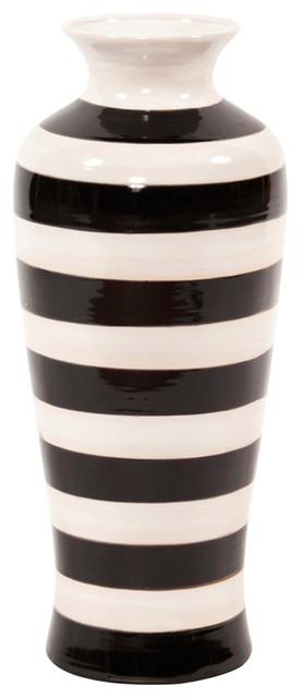 Howard Elliott Black And White Stripe Glaze Vase Small