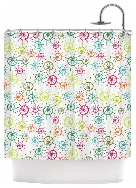 """Holly Helgeson """"Mod Flower Burst"""" White Multicolor Shower Curtain - Scandinavian - Shower Curtains - by KESS Global Inc."""