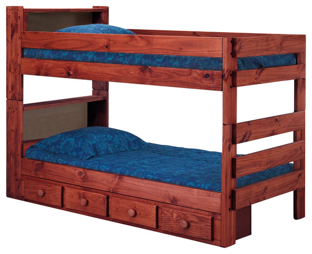 Ameriwood Bookcase Twin Bunk Bed with Underbed Storage Drawers, Mahogany - Rustic - Bunk Beds ...