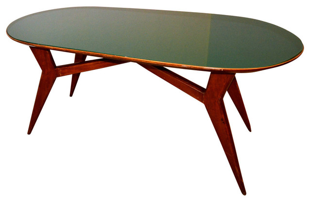Delightful Mid Century Italian Table With Green Glass Midcentury Dining Tables