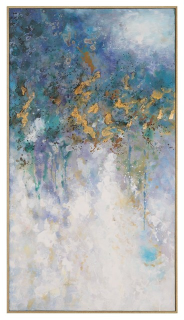 Oversize 53 Quot Abstract Gold Blue White Wall Art Lightning