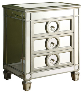 Accent Table, Brushed Silver, Mirror, 3 Drawers   Transitional   Side Tables  And End Tables   By Monarch Specialties
