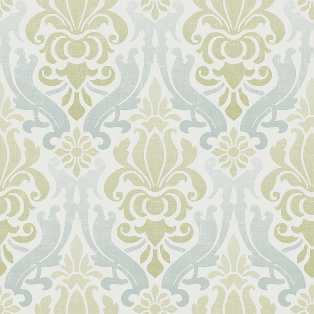 Blue And Green Nouveau Damask Peel And Stick Wallpaper, Roll.