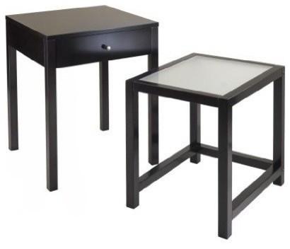 Winsome Wood Copenhagen 2 Piece Nesting Table Set W/ Glass Top In Dark  Espresso Contemporary